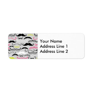 Pink, Yellow & Black Mustaches Return Address Label