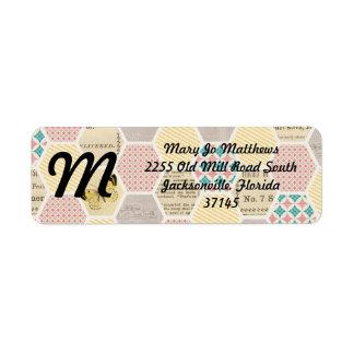 pink yellow blue quilt newspaper butterfly custom return address labels