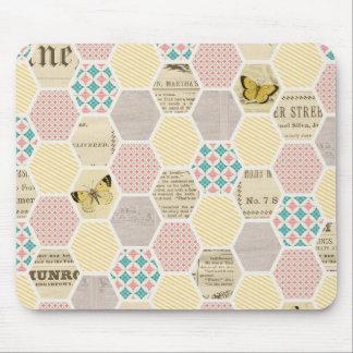 pink yellow blue quilt newspaper butterfly mousepads
