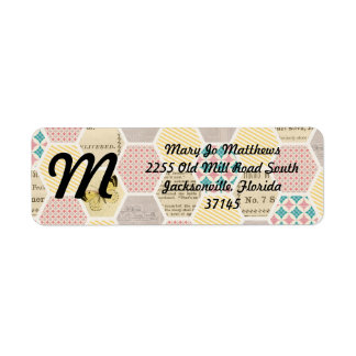 pink yellow blue quilt newspaper butterfly return address label
