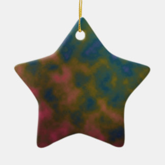 pink yellow blue tie dye art ceramic ornament