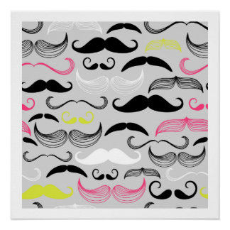 Pink, Yellow & Brown Mustaches Perfect Poster
