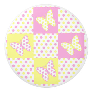 Pink Yellow Butterfly Polka Dot Quilt Block Girl Ceramic Knob