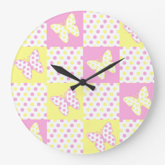 Pink Yellow Butterfly Polka Dot Quilt Block Girl Large Clock