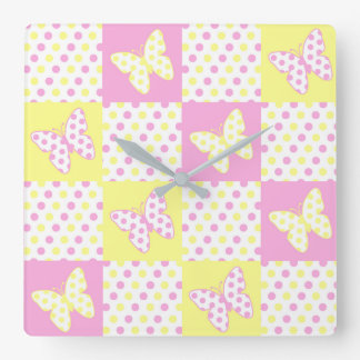 Pink Yellow Butterfly Polka Dot Quilt Block Girl Square Wall Clock