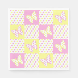 Pink Yellow Butterfly Polka Dot Quilt Pattern Girl Napkin