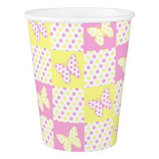 Pink Yellow Butterfly Polka Dot Quilt Pattern Girl Paper Cup