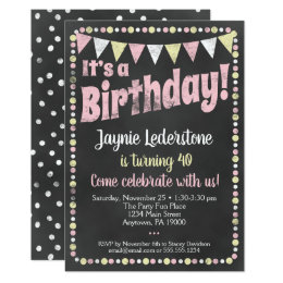 Girls 12th birthday party invitations announcements zazzle ca pink yellow chalkboard birthday invitation filmwisefo Image collections