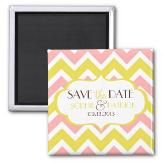Pink & Yellow Chevron Save the Date Magnet
