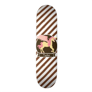 Pink & Yellow Fantasy Unicorn; Brown White Stripes Custom Skateboard