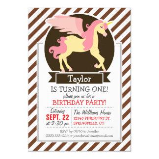 Pink & Yellow Fantasy Unicorn; Brown White Stripes Customized Announcement Card