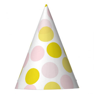 Pink & Yellow Festive Polka Dots Confetti Party Hat