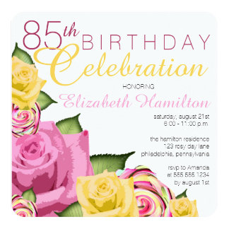 "Pink | Yellow Floral 85th Birthday Celebration 5.25"" Square Invitation Card"