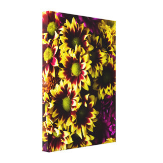 Pink Yellow Floral Bouquet Photo Canvas Print