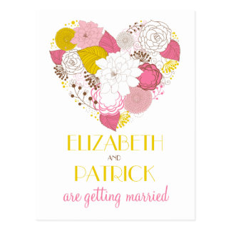 Pink & Yellow Floral Heart Save the Date Postcard