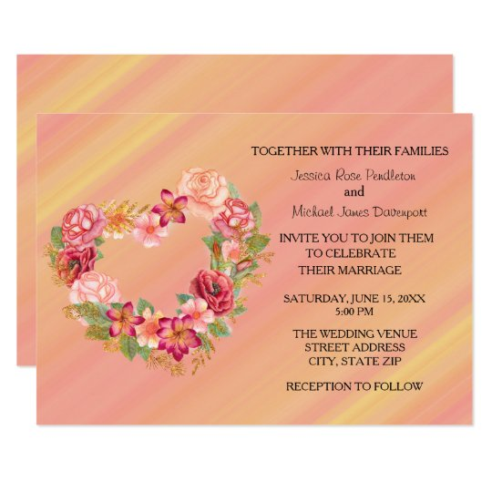 Pink Yellow Floral Heart Wreath Wedding Invitation