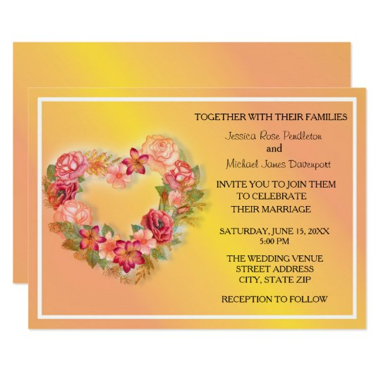Pink Yellow Floral Heart Wreath Wedding Invitation