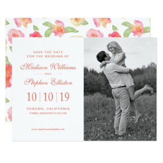 Pink & Yellow Floral Watercolor - Save the Date Card