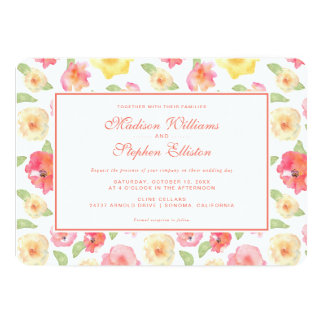 Pink & Yellow Floral Watercolor - Wedding Card
