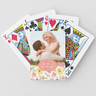 Pink & Yellow Floral Watercolor - Wedding Photo Bicycle Playing Cards
