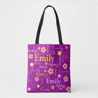 Pink yellow flower custom name Emily tote bag