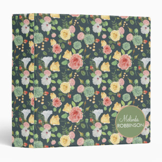 Pink Yellow Flowers on Green Custom Binder