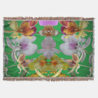 Pink Yellow Flying Orchids Throw Blanket