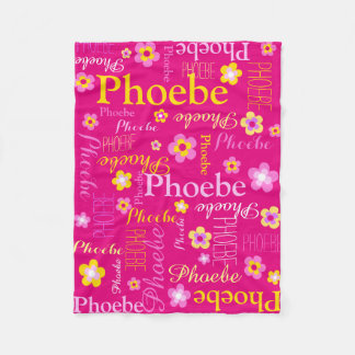 Pink yellow girls name flower graphic blanket