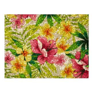 Pink & Yellow Glittery Flowers Postcard