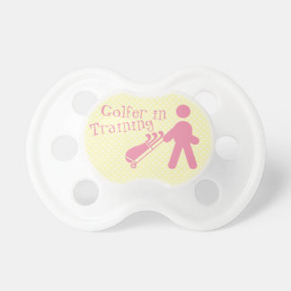 Pink Yellow Golfer in Training Baby Girl Pacifier