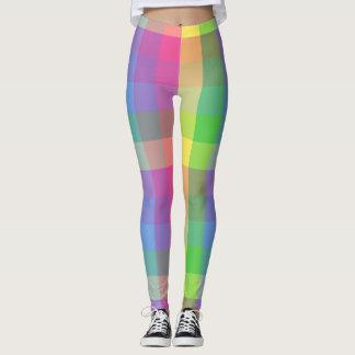 Pink/Yellow/Green/Purple/Blue Plaid Leggings