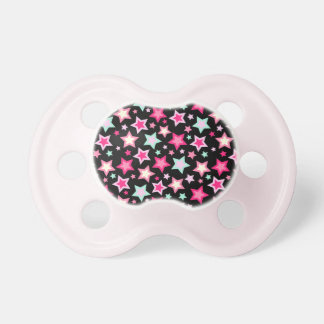 Pink Yellow Green Stars on Black Pacifier