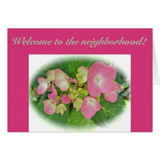 Pink Yellow Hydrangea Welcome to the Neighborhood Greeting Card