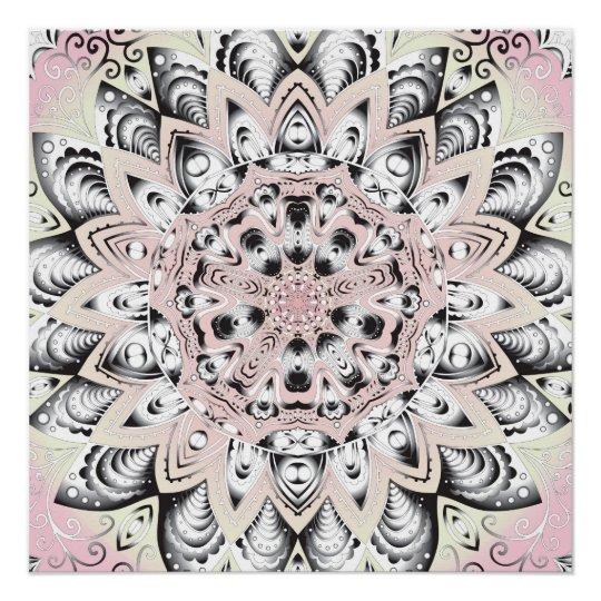 Pink Yellow Mandala Grunge Poster