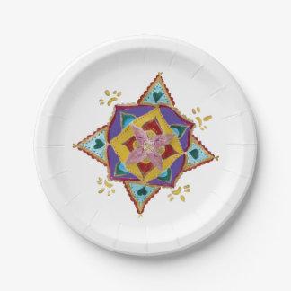 Pink Yellow Mandala Paper Plates