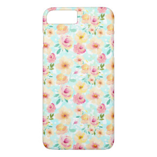 Pink Yellow Mint Watercolor Floral iPhone 8 Plus/7 Plus Case
