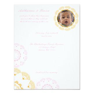 """PInk & Yellow Namkaran Baby Naming Invitations 4.25"""" X 5.5"""" Invitation Card"""