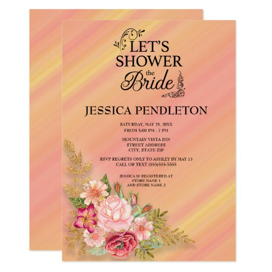 Pink Yellow Ombre' Watercolor Floral Bridal Shower Card
