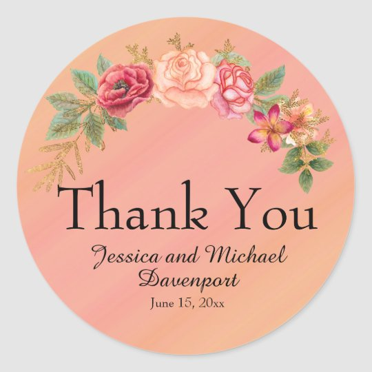 Pink Yellow Ombre' Watercolor Floral Thank You Round Sticker