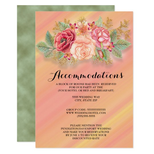 Pink Yellow Ombre' Watercolor Floral Wedding Card
