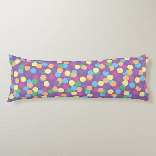 Pink Yellow Orange Green Blue & Purple Polka-Dots Body Pillow