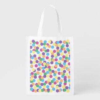 Pink Yellow Orange Green Blue & Purple Polka-Dots Reusable Grocery Bag