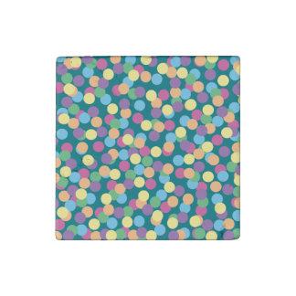 Pink Yellow Orange Green Blue & Purple Polka-Dots Stone Magnets