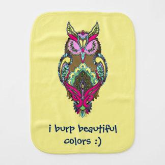 Pink Yellow Owl I Burp Beautiful Colors template Baby Burp Cloths