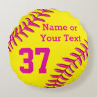 PINK, Yellow PERSONALIZED Round Softball Pillows