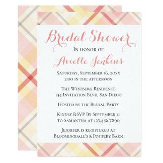 Pink, Yellow, Plaid Bridal Shower Argyle Stripes Card
