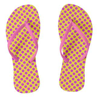 Pink & Yellow Polka Dotted Women's Flip Flops