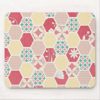 Pink Yellow Quilt Pattern Mouse Pads