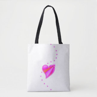 Pink Yellow Rainbow Heart with Stars Tote Bag