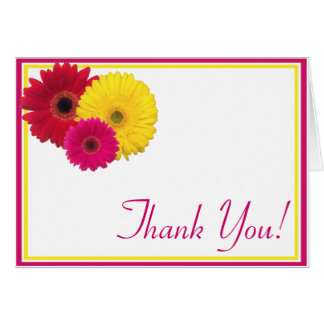 Pink Yellow Red Gerbera Daisy Thank You Note Card